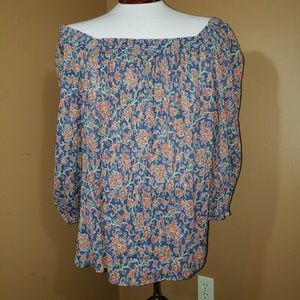 Chaps 2X off the shoulder floral tunic